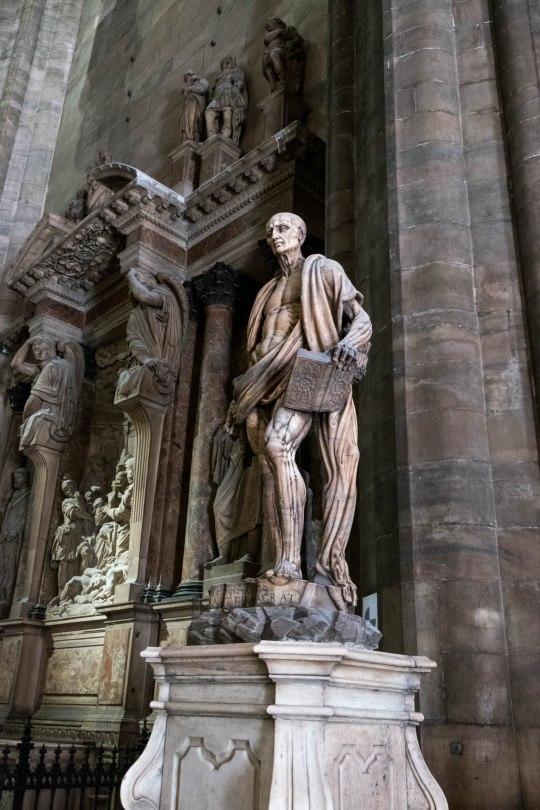 Creepy statue of St Bartholomew Flayed