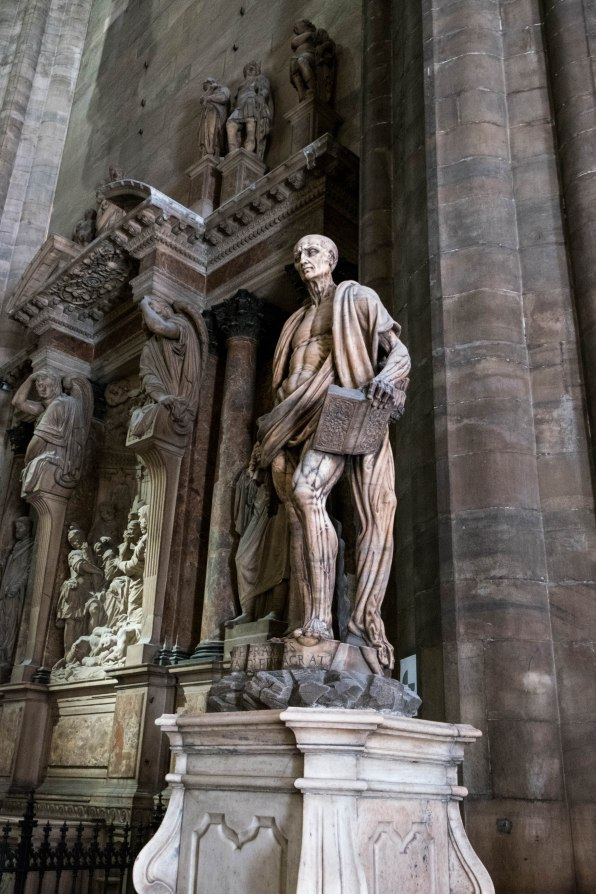 Creepy statue of St Bartholomew Flayed